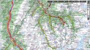Carte Michelin - Moutiers et environs (Circuits vélo route depuis Méribel)