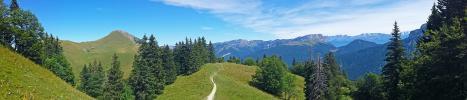 Panoramique - En redescendant vers le Charmant Som (La Pinéa depuis Orgeval)