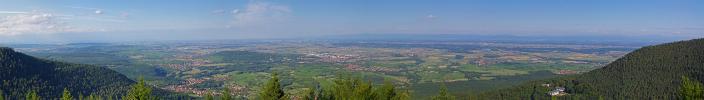 Panoramique - Plaine d'Alsace depuis le Mont Sainte-Odile (Mont Sainte-Odile)