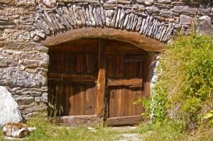 Linteau bois et pierre
