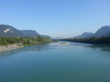 L'Isère depuis le pont-barrage de Saint-Egrève