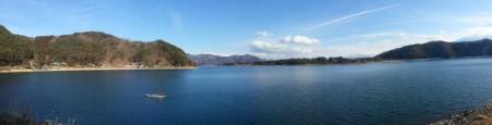 Panoramique - Pêcheur sur le lac Kawaguchi
