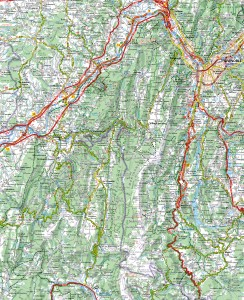 Extrait carte Michelin - Royans Vercors